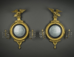 Pair Diminutive Girandole Mirrors with Candlearms