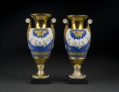 "Pair ""Old Paris"" Vases with Garlands of Bisquit Flowers"