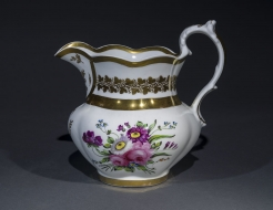Large Pitcher with Floral and Gold Decoration