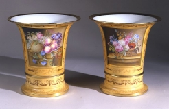 Pair Flared Cache Pots on Stands, with Ochre Ground and Still-life Panels
