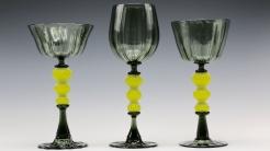 Green Wine Glass Trio