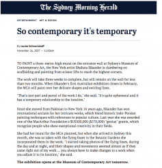 So contemporary it's temporary by Louise Schwartzkoff