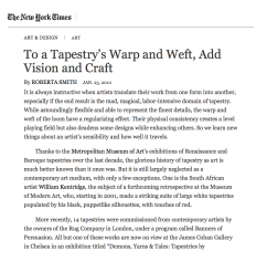 To a Tapestry's Warp and Weft, Add Vision and Craft by Roberta Smith