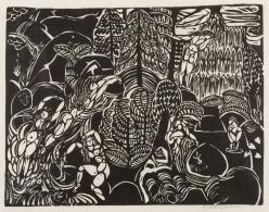 WILLIAM ZORACH  (1887-1966)  Mountain Stream, 1916  Linoleum-cut on off-white thin Japanese paper
