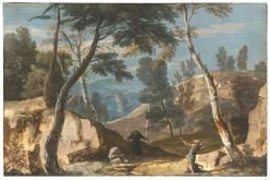 MARCO RICCI A Landscape with Two Monks and an Anchorite Gouache on kidskin