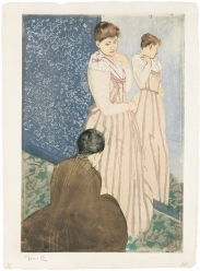 Mary Cassatt (1844 – 1926)  THE FITTING, 1890-1891  Drypoint and aquatint printed in colors, unique color proof, initialed in pencil M. C
