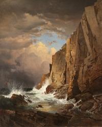 William Trost Richards (1833-1905)  The Otter Cliffs, 1866  Oil on panel
