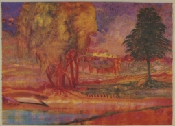 Exhibition Announcement picturing James McGarrell, WIllows, Pine and Pink Pond 1989