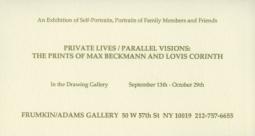 'The Prints of Max Beckmann & Lovis Corinth' 1994 Exhibition Announcement