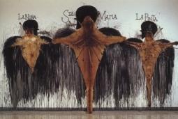 """Exhibition announcement picturing Jose Bedia, detail of 'Bevisima Relacion de las Destruccion de las Indias"""" 1992 installation"""