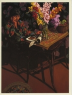 Exhibition announcement picturing Jack Beal, Sondra with Gladioli 1992-93