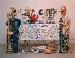 Exhibition announcement picturing Robert Arneson, 'Guardians of the Secret II' 1989-90