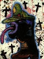 Exhibition announcement picturing Luis Cruz Azaceta, 'Dictator's Head Boot' 1987