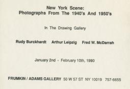 Rudy Burckhardt, Arthur Leipzig & Fred W. McDarrah 1990 drawing gallery Exhibition Announcement