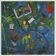 Exhibition announcement picturing Manny Farber, 'April 13' 1994