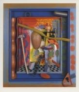 Exhibition announcement picturing Colin Lanceley, Vermeer Cooks an Egg 1994