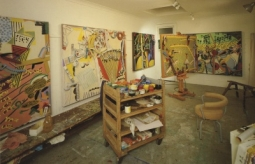 Exhibition announcement picturing a view of the artist's studio with works in progress, Sydney, 1990.