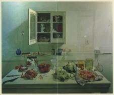 Exhibition announcement picturing James Valerio, Reflective Still-Life 1992