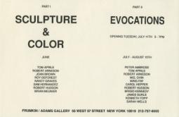'Sculpture & Color Part II' 1989 Exhibition Announcement