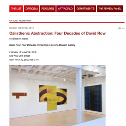 Calisthenic Abstraction: Four Decades of David Row by Stephanie Maine