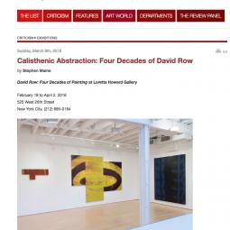 Calisthenic Abstraction: Four Decades of David Row by Stephanie Maine