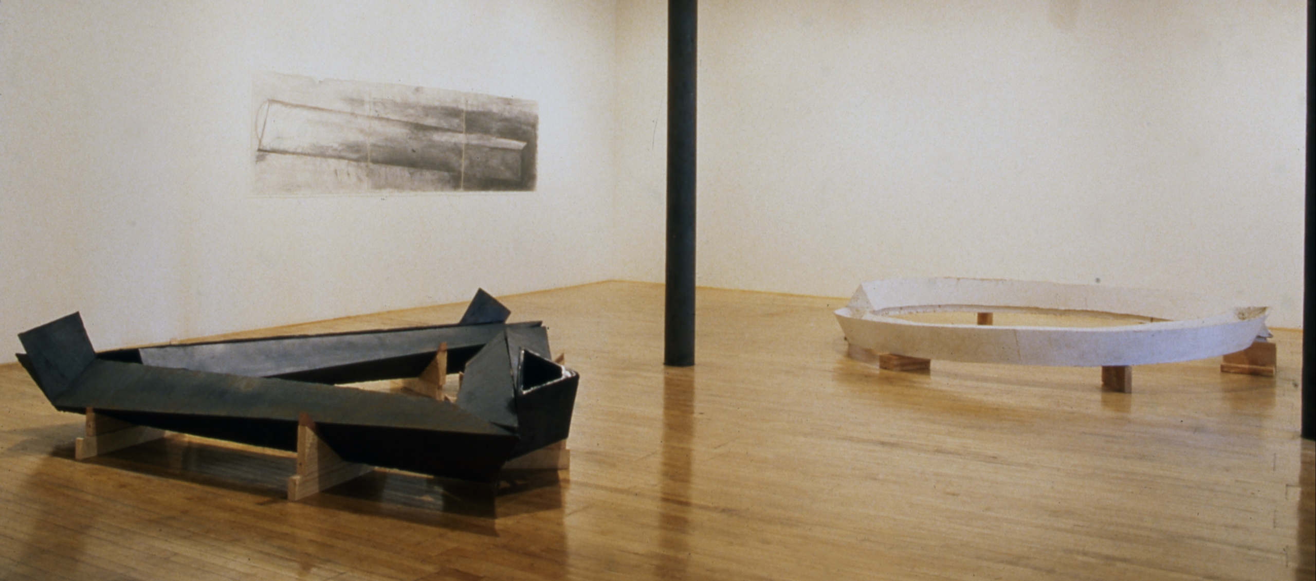 Installation view at Rhona Hoffman Gallery, Bruce Nauman, New Iron Casting, Plaster, and Drawing