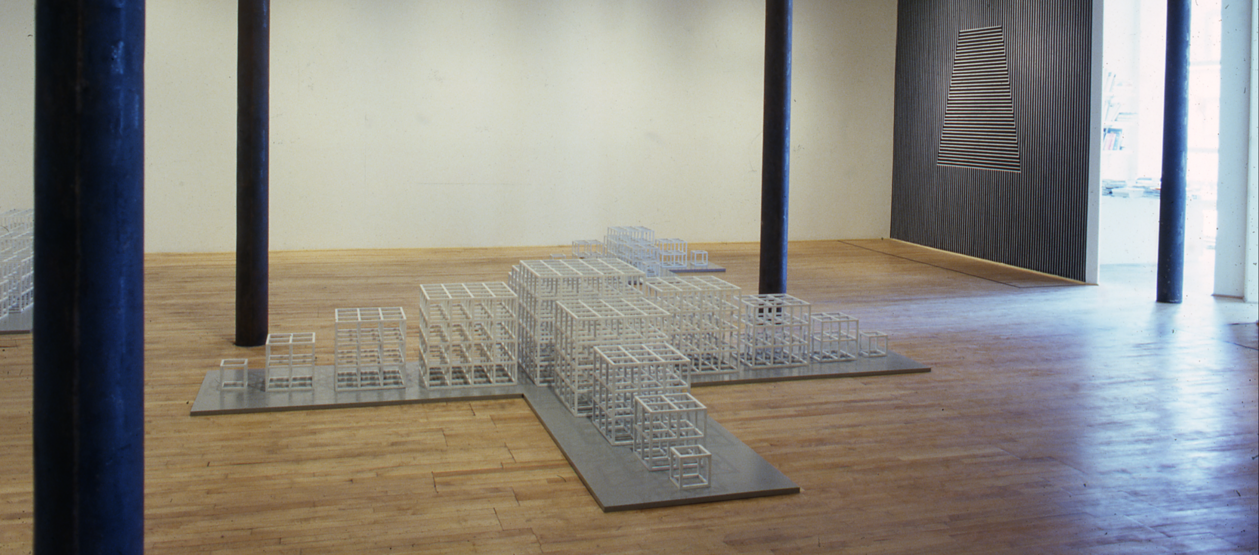Installation view at Rhona Hoffman Gallery, Sol LeWitt, New Structures, Wall Drawing, Drawings, 1980.