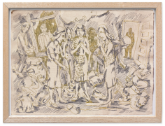 Viola Frey Untitled (Sketch with Three Grandmother Figures), 1981-84