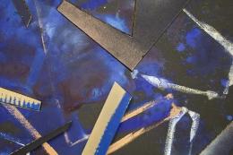 Detail ofUntitled (blk.ppr.bl.blk.shps.stncls.brnz.wht.spry.), 2016, Gouache, graphite, spray paint, acrylic, glue, paper, cardboard, aluminum and wood panel