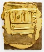 Nancy Lorenz, Red Gold on Burlap, 2015