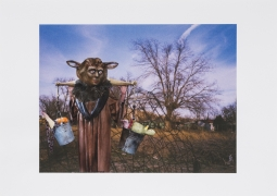 Furry Man Brings Food, 2014, Collage on inkjet print