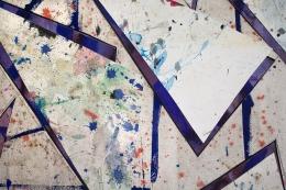 Detail ofUntitled (flr.ppr.trngls.bl.lns.crdbrd.), 2016, Gouache, acrylic, graphite, glue, paper, cardboard, aluminum and wood panel