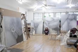 Betty Tompkins in her studio, 2011