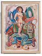 Viola Frey Untitled (Nude Woman on Lying Man), 1985