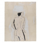 Standing Nude (After Shelby Creagh), 1982, Acrylic, graphite and muslin collage on paper