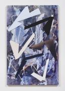 Untitled (drkbl.flr.ppr.crdbrd.shps.), 2016, Gouache, graphite, spray paint, acrylic, glue, paper, cardboard, aluminum and wood panel