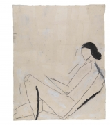 Reclining Nude (After Shelby Creagh), 1982, Acrylic, graphite and muslin collage on paper