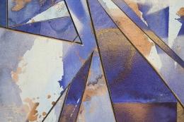Detail ofUntitled (lt.bl.flr.ppr.brnz.crdbrd.), 2016, Gouache, graphite, spray paint, acrylic, glue, paper, cardboard, aluminum and wood panel
