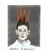 Wild, Wonderful, Wacky Hair on the Men's Runways (Gosha Rubchinskiy), 2016, Gouache on paper