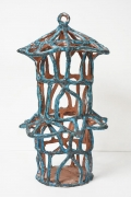 Turquoise Birdcage with Roof Semicircles, 2015, Glazed ceramic