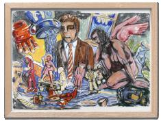 Viola Frey Artist's Mind/Studio/World: Man in Brown Suit and Pink Angel, 1988