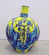 Elisabeth Kley Small Turquoise & Yellow Leaf Face Bottle, 2008