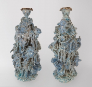 Blue and Gold Candelabra Pair, 2017, Cone 10 fired porcelain over stoneware, found ceramic tchotchkes, glaze & gold luster