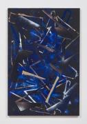 Untitled (blk.ppr.bl.blk.shps.stncls.brnz.wht.spry.), 2016, Gouache, graphite, spray paint, acrylic, glue, paper, cardboard, aluminum and wood panel