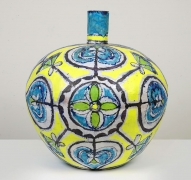 Elisabeth Kley, Large Round Turquoise & Yellow Bottle, 2013