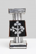 Small Assembled Square Tile Stack with Flower and Hourglass, 2017, Glazed earthenware