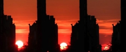 Manhattanhenge, 2014 Duratrans prints on lightbox (triptych)