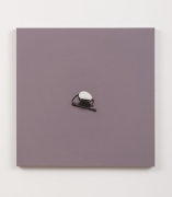 What Do You Say? (Chrome Egg Butt Plug with Leather Thong), 1989, Oil on canvas stretched on board