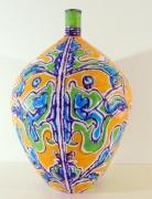 Elisabeth Kley Large Gold & Lime Leaf Face Bottle, 2009
