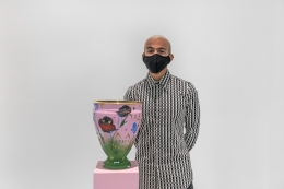 The artist with Narcissus Vessel II (2020)